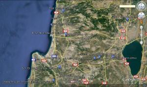 מפת תפוצת נץ-חלב הררי בצפון ישראל