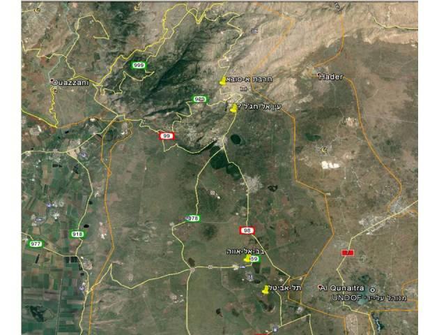 מפת האתרים של זהבית פעוטה בצפון הגולן ובחרמון