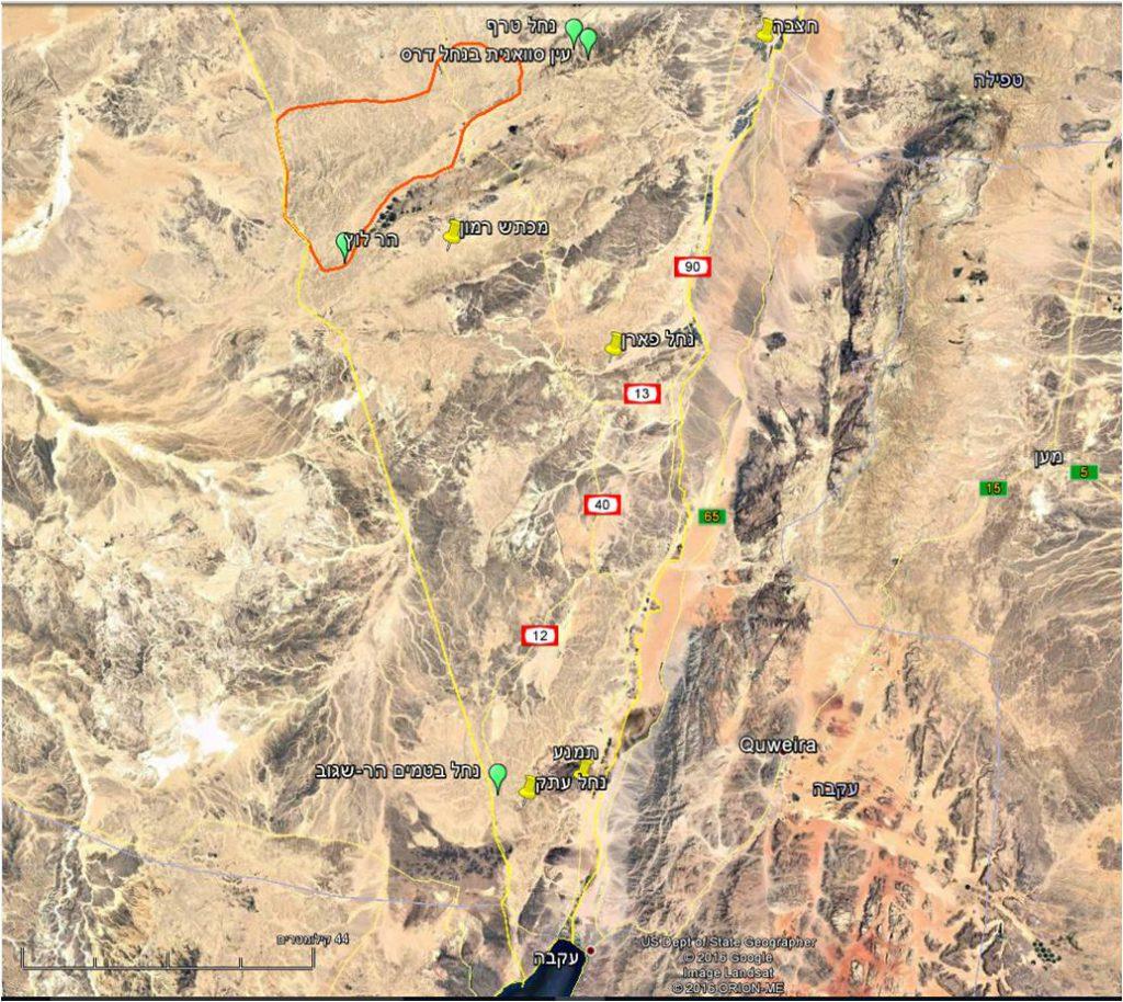 מפת אתרים של אשחר ארץ-ישראלי בנגב