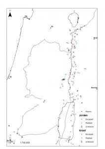 """מפת תפוצה מפורטת של אתרי הינבוט הזר הנטוע והינבוט הזר ה""""מובר"""" במרכז וצפון ישראל ובירדן"""