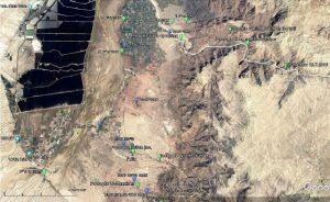 מפת האתרים אליהם פלש ינבוט המסקיטו באזור נחל זרד והפינה הדרום-מזרחית של ים המלח
