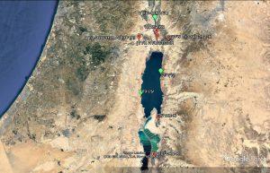 תמונה 8: מפת האתרים בירדן וישראל בהם נאסף חבלבל מדברי בעבר ובהווה.