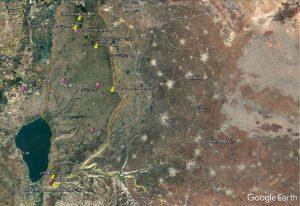 מפת תחנות ההשתלמות בגולן. מיקומי התחנות - בסמלים צהובים.