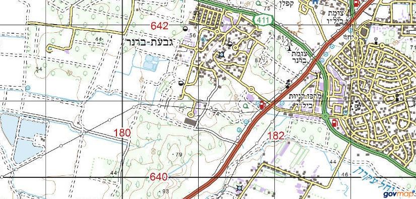איזור גבעת ברנר. באישור אתר המפות הממשלתי http://www.govmap.gov.il/