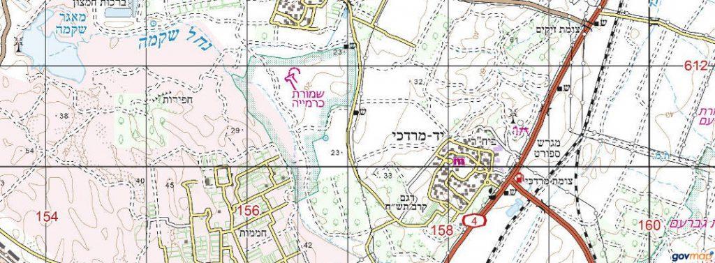 שמורת חולות כרמיה. באישור אתר המפות הממשלתי http://www.govmap.gov.il/
