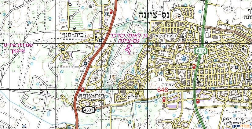 אזור הגן הלאומי כורכר נס-ציונה. באישור אתר המפות הממשלתי http://www.govmap.gov.il/