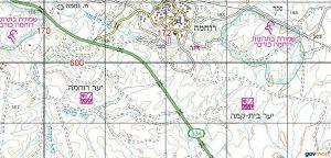 בתרונות רוחמה - מפת האזור. באישור אתר המפות הממשלתי http://www.govmap.gov.il/