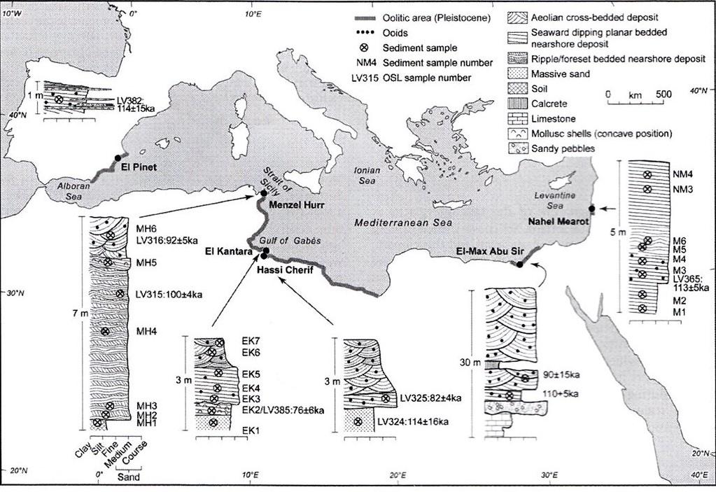אזורים בחופי אגן הים התיכון שבהם נחשפו סלעי כורכר (מסומנים בקו כהה). מתוך: Mauz, 2012