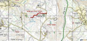 מפת איזור ואדי ג'אלוד - מצפה קידה. באישור שירות המפות הממשלתי.