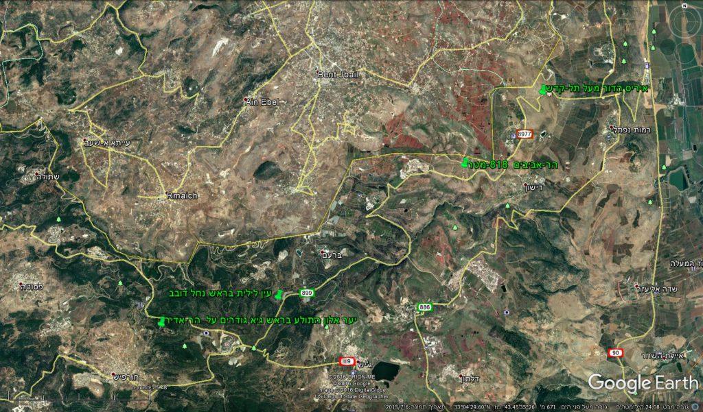 מפת תחנות ההשתלמות בגליל העליון המזרחי