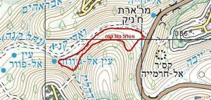 מפת איזור תחנת נחל קנה. באישור שירות המפות הממשלתי