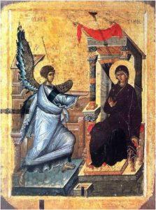 ציור הבשורה בכנסיית St. Clement ב-Ohrid שבמקדוניה.