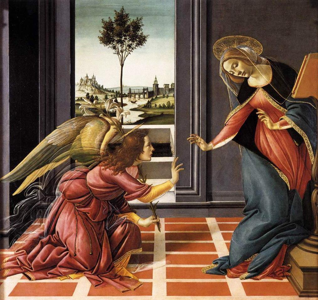 """הבשורה לפי בוטיצ'לי (1490) (שימו לב לגודלו של השושן ולנוף """"הארצישראלי"""" הניבט מהחלון)"""