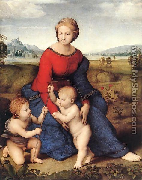 ישוע ויוחנן (Raffaello 1506-1505) כילדים. בצלב ניתן להבחין במפרקי הקנה.ברקע שני פרחי פרג. צבעו האדום הוא רמז מקדים לדם הצליבה.