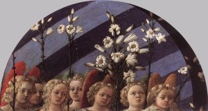 מלאכים עטורים בזרי ורדים ונושאי פרחי שושן בידיהם בטקס הכתרתה של מריה כמלכת השמים. (Filippo Lippi 1447)
