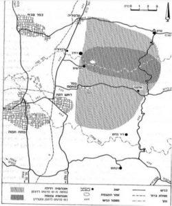 מפות תפוצה של אוג קוצני במערב השומרון. מתוך:פולק, ג. 1983. אוג קוצני בישראל. רתם 6: 31-17.