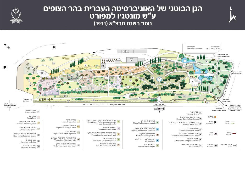 מפת הגן הבוטני בהר הצופים