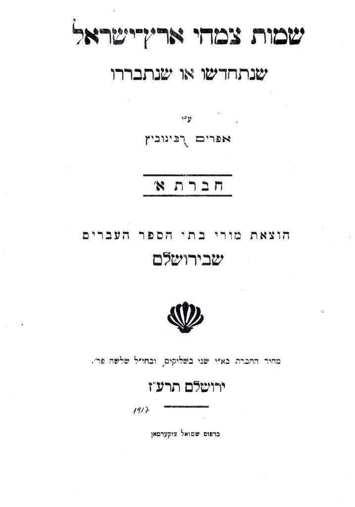 כריכת החוברת מאת אפרים רבינוביץ (הראובני) – 1917. מקור: ספריית האקדמיה ללשון עברית, באדיבות רונית גדיש