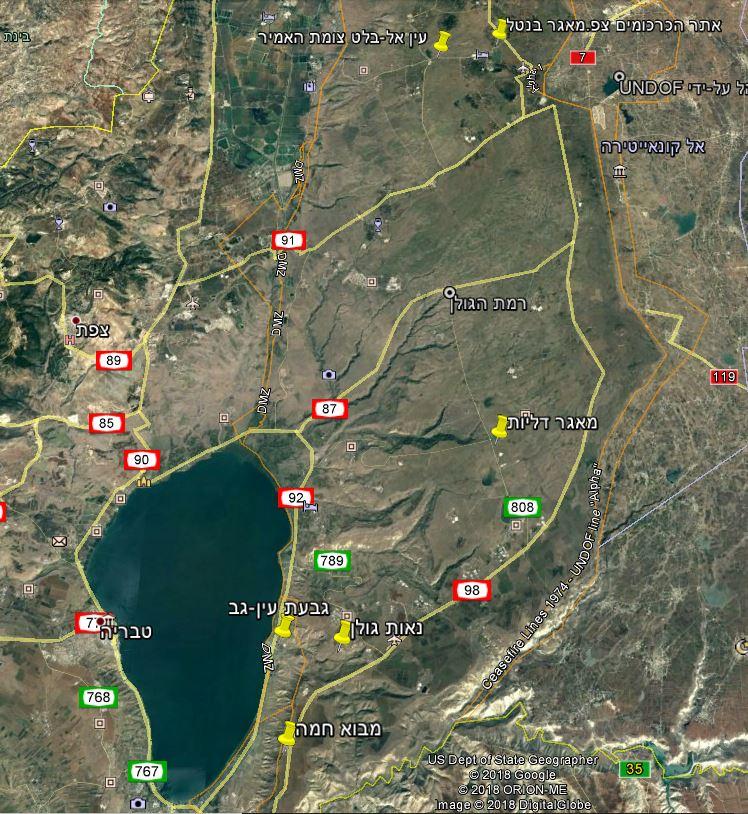מפת תחנות השתלמות כלנית לגיאופיטים בגולן, נובמבר 2018