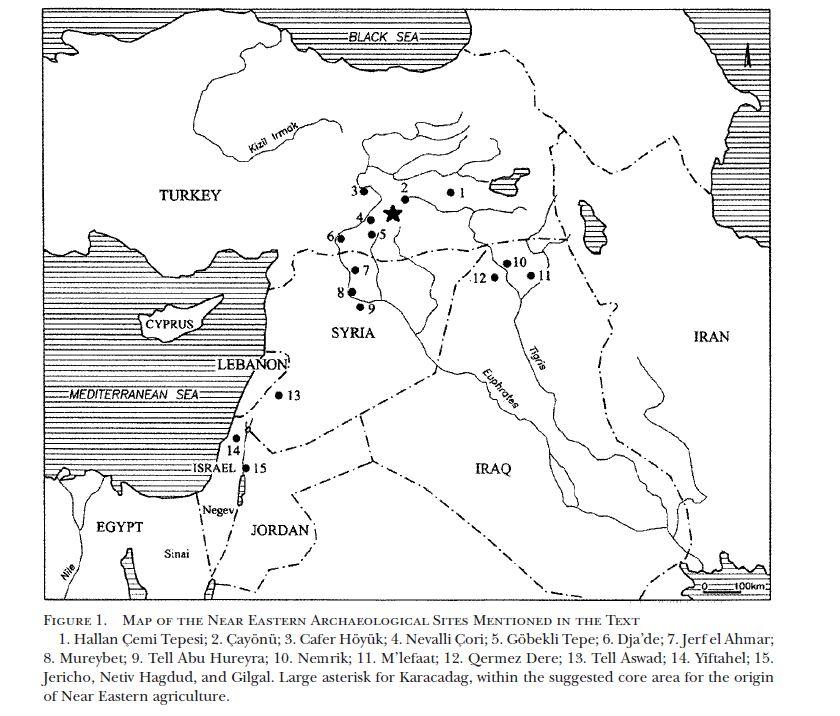 מפת אתרים ניאוליתיים בהם נמצאו גרגירי קטניות קדומים, מתוך Abbo 2003A