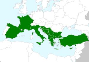 מפת התפוצה של אספסת הדיסקוס, מתוך אתר - EU_M