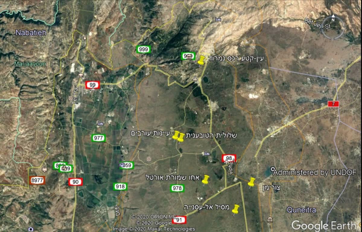 מפת תחנות ההשתלמות על רקע תצלום לווין גוגל.